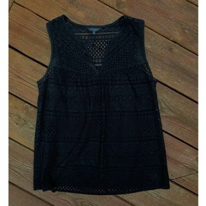 Black Eyelet Tank with Slip Attached